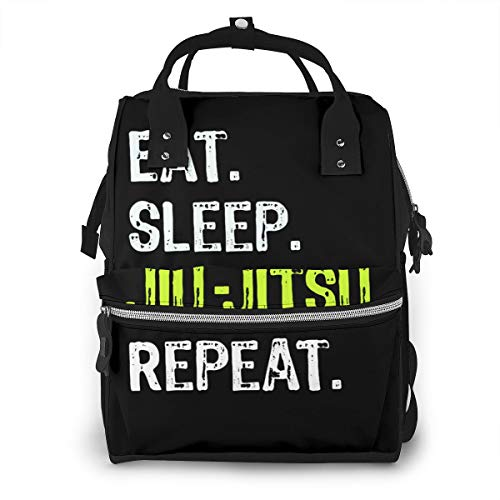 Eat Sleep Jiu Jitsu Repeat Baby Diaper Bag Backpack,Multi-Function Waterproof Large Capacity Travel Nappy Bags For Mom