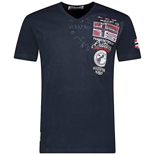 Geographical Norway JOLYMPIA - Camiseta Algodón para Hombre - Camiseta Modelo Hombre con Logo - Shirt Regular Manga Corta - Camisetas Cuello Clasica Casual - Regalo Original para Hombre (Marina L)