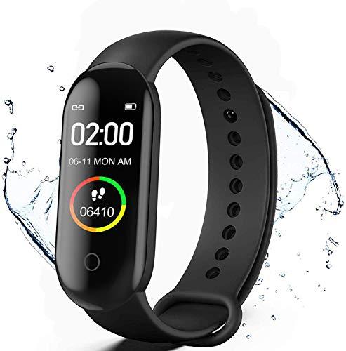 Fitness Tracker, M4 Smart Watch, Activity Tracker Orologio con cardiofrequenzimetro, IP67 Impermeabile Pedometro Sport Braccialetto Salute Fitness