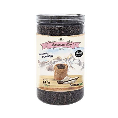 Nortembio Schwarze Himalaya-Salz 1,4 Kg. Grob (2-5 mm). Kala Namak. 100% Natürliches Salz. Charakteristischer Eigeschmack. Unraffiniert. Ohne Konservierungsstoffe. Aus Punjab Pakistan.