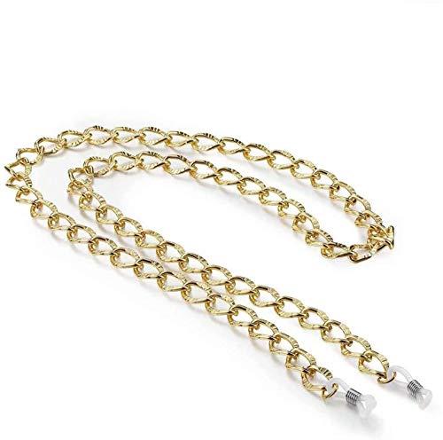 PJPPJH Gold Brillen Kette für Frauen Mädchen, Chunky Musterkette Sonnenbrillen Kette, Glaskette, Lesebrillen Kette, Pearl Maillechain, Chic und Funktion