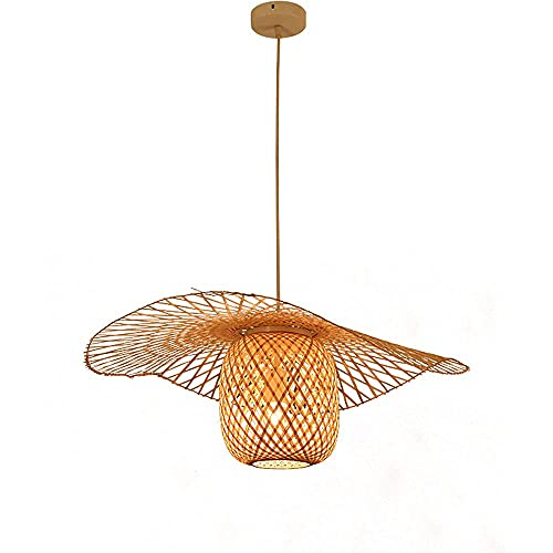 LLLKKK Tatami - Lámpara de techo con forma de sombrero de paja japonés, hecha de bambú tejida, creativa, lámpara de techo retro, apta para cafetería, salón, hotel, restaurante, decoración