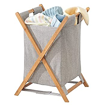 mDesign Bamboo Wood Laundry Hamper Sorter Cart Portable and Collapsible Folding Clothes Basket Storage with Removable Poly/Cotton Liner Fabric Bag X Frame - Natural Finish