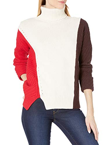 French Connection Women's Patchwork Multi Color Sweater, True Red/Classic Cream/Brown, S