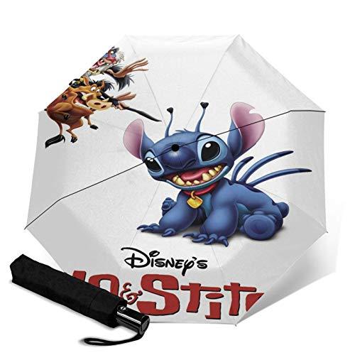 Paraguas Anti-Ultravioleta Compacto De Viaje Triple De Apertura/Cierre Automático, Sombrilla Plegable A Prueba De Viento para Exteriores, Lilo Stitch Disney
