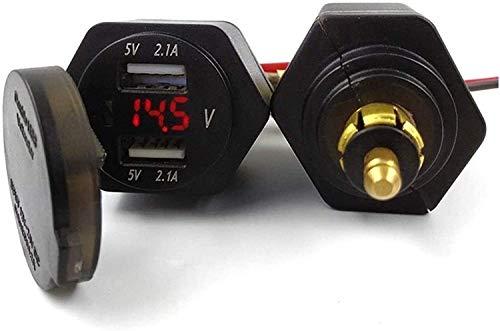 LQH -Cargador USB Dual A Prueba De Agua para Enchufe DIN Hella Powerlet, A Voltímetro Adaptador De Cargador USB Dual, para Motocicleta BMW Hella DIN 12-24V DC 5V 4.2A,Rojo