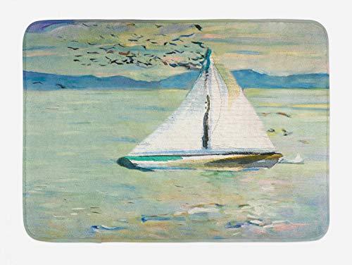 Ambesonne Art Bath Mat, Monet Sailing Boat Yacht Birds Watercolor Brushstroke Composition, Plush Bathroom
