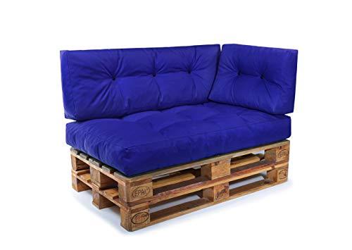 Easysitz Palettenkissen Set Palettensofa Palettenpolster Palettenauflagen Sofa Kissen Indoor Outdoor Gesteppt für 120 x 80 cm Europaletten (Set 3: Sitzkissen + Rückenkissen + Seitenkissen - Blau)