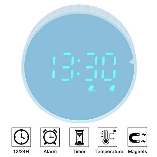 PROKING Wecker Digital LED, Wecker Reisewecker mit Nachtlicht, Dual-Wecker, 12/24 H Format, Kinderwecker Ohne Ticken, Geräuschlos, Batteriebetrieben & USB Laden (Blau-1)