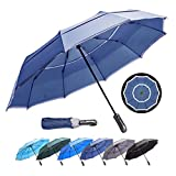 (Dark Blue 46-inch) HOSA Auto Open Close Compact Portable Lightweight Automatic Repel Folding Travel Umbrella, Double Vented Windproof UV Protection, For Raining, Sunny Days and Night Time Use