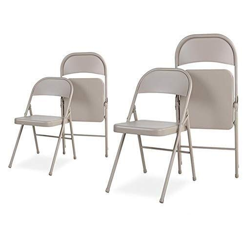 XYSQWZ Sets of 4 Folding Chair Desk Chairs, Indoor Home Office Dining Portable Steel Frame Chair