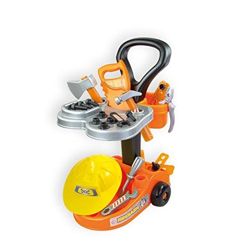 Mochtoys Kinderwerkzeugwagen 10316 mit Kinderwerkzeug, Kinderhelm, Säge uvm.
