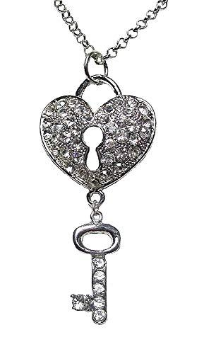 Collar con colgante de corazn con forma de llave para mujer, nias, novias, damas