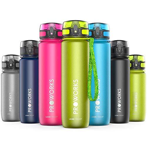 Proworks Trinkflasche, BPA Frei Tritan Wasserflasche Auslaufsicher, Fitness Flasche für Sport, Joggen, Radfahren, Wandern und mehr, Water Bottle 0.5 Liter (18oz) - Grün