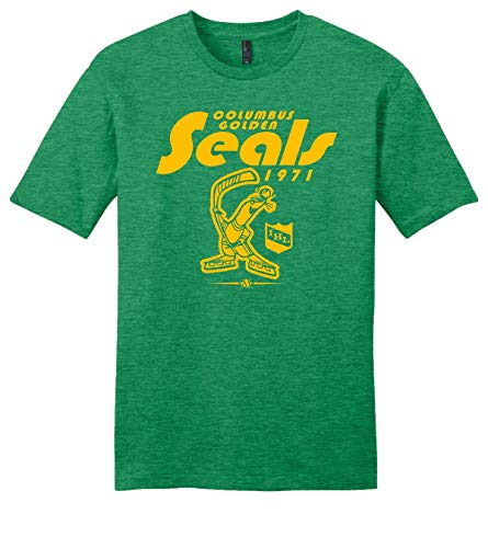 Throwbackmax Columbus Golden Seals 1971 IHL Hockey Tee Shirt - Any 2 Tees for 30 (Green Frost, 3X)