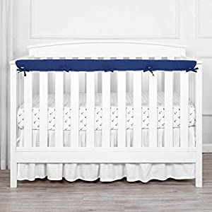 TILLYOU 1-Pack Padded Baby Crib Rail Cover Protector Safe Teething Guard Wrap for Long Front Crib Rails(Measuring Up to 8″ Around), 100% Silky Soft Microfiber Polyester, Reversible, Navy/Pale Gray