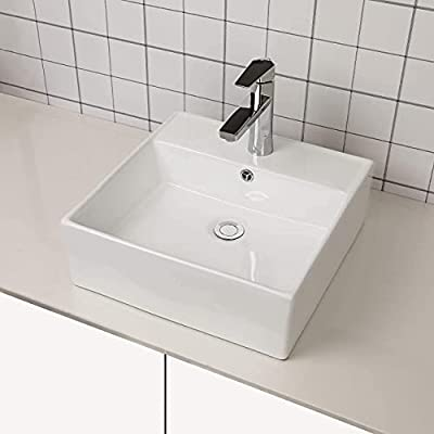"""Vessel Sink Square - Sarlai 18"""" Wall Mounted Bathroom Sink Above Counter White Ceramic Porcelain Vessel Sink Vanity Sink Basin with Faucet Hole"""