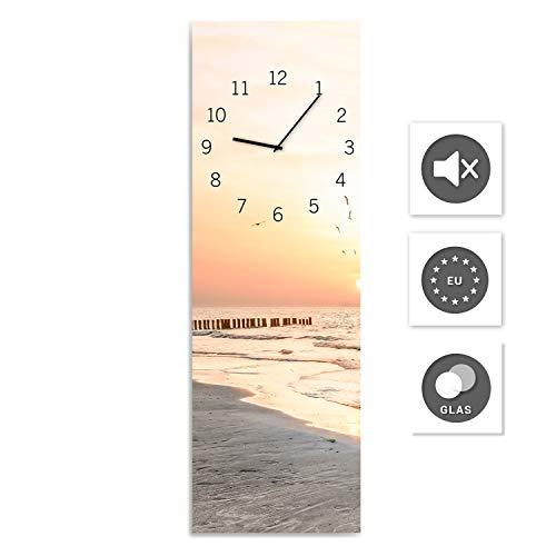 STYLER Wanduhr aus Glas, Glasuhr, Rechteckig vers. Motive 20 x 60 cm (Beach)