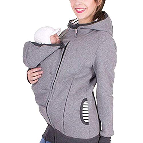 Cytree Tragejacke für Mama und Baby 3 in 1 Damen Langarm Kapuze Känguru Umstandsjacke Warm Tragepullover mit Babyeinsatz (L, Grau)