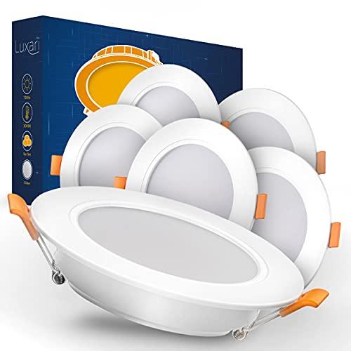 Luxari LED Einbaustrahler 230V flach − Strahlende LED Einbauleuchten [6er Set 9W] − Bad LED Spot [3000K warmweiß] − Deckenstrahler mit Connector − IP54