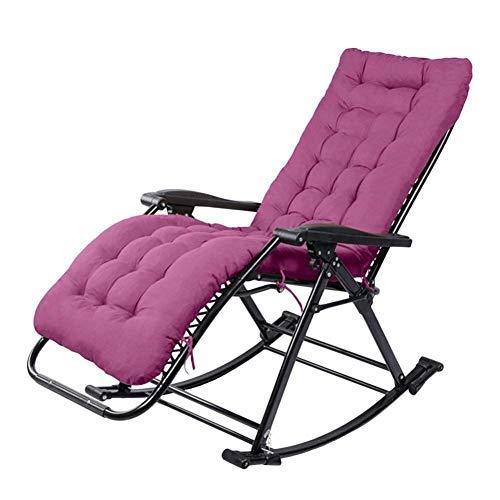 BH Sillón reclinable de Patio de Gravedad Cero Reclinable Plegable al Aire Libre para Patio Porche Jardín Cubierta Césped Camping Silla portátil Soporta 240 kg (Color: Púrpura)