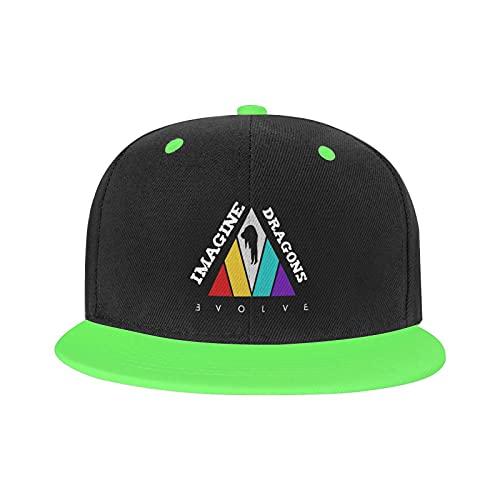 Marat Hip-Hop Cap Imagine Dragons Evolve Regolabile Running Unisex Cappello Sportivo Bianco, Verde, Etichettalia unica