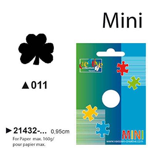 Vaessen Creative Mini Motivpons klaverblad, kleine motiefperforator van metaal en plastic, uitgestanst motief 9,8 x 8,9 mm, om te knutselen met papier