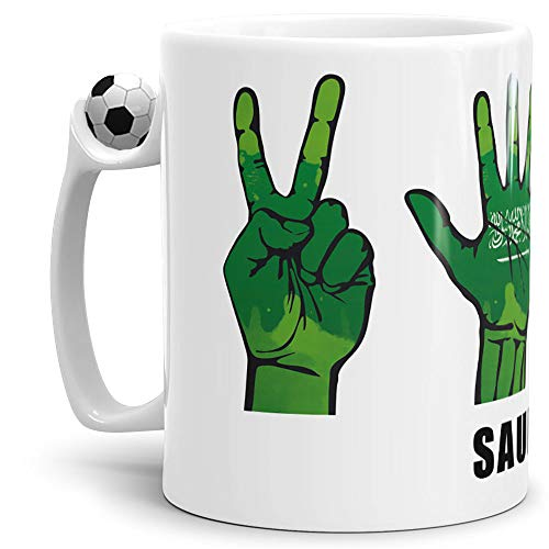Tassendruck Flaggen-Tasse mit Handzeichen von Saudi-Arabien - Arabien Fussball-Tasse - Fahne/Länderfarbe/WM/Weltneisterschaft/EM/Europameisterschaft/Cup/Tor/Qualität Made in Germany