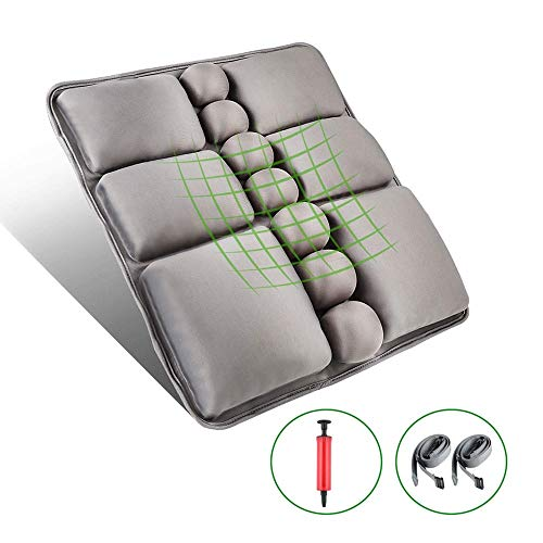 Inflatable Air Back Cushions is Best for Someone with Coccyx, Sacrum and Buttock Pain Wheelchair Cushion Anti Bedsore Orthopedics Seat Pad Pressure Relie (Color : Gray)