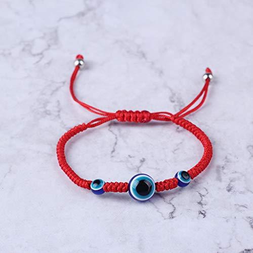 Jingmeizi - Pulsera de cuerda roja para protección contra el mal de ojo turco de cábala