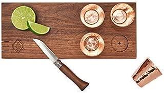 Solid Walnut Shot Board with Hand-Forged Copper Sertodo Shot Glasses/Cutting Board Shot Board
