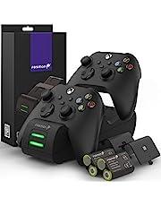 Fosmon Dual 2 Max 充電 スタンド Xbox Series X/S(2020), Xbox One/One X/One S Elite 対応 コントローラー 充電器, (置くだけ充電  2台同時充電) 2個セット充電池 最小容量2200mAh LEDインジケータ急速充電スタンド - 黒
