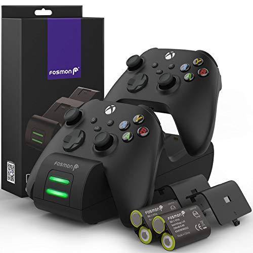 Fosmon DUAL 2 MAX Stazione di Ricarica Compatible con Controller Xbox Series X/S (2020), Xbox One/One X/One S Elite Controllers, (Dual Slot) Caricabatteria e 2x 2200mAh Batteria Ricaricabile - Nero