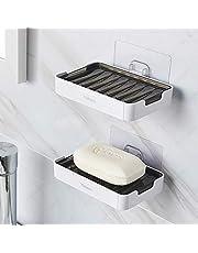 YOHOM 2Pcs Soap Dish Holder Bathroom Shower Soap Case Adhesive Plastic Bar Soap Container Tray Self Draining Soap Saver Box Plate Rack Scrubber Sponge Holder for Kitchen No Drilling Wall White & Black