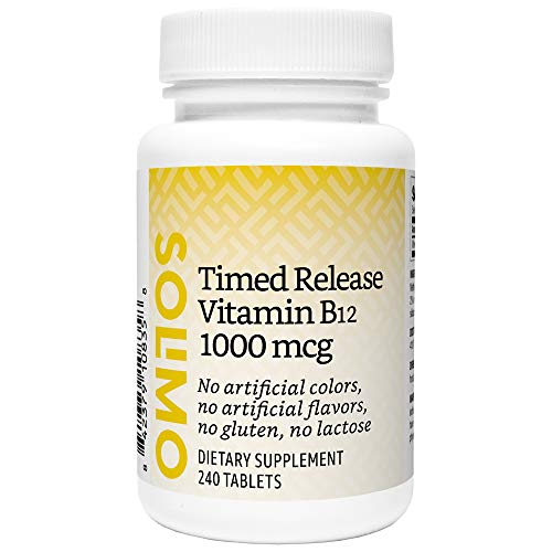 Amazon Brand - Solimo Timed Release Vitamin B12 1000 mcg, 240 Tablets, Eight Month Supply