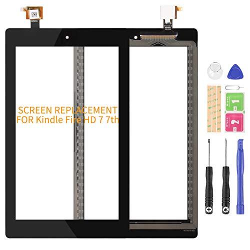 Ersatz-Touch-Digitalisierer für Amazon Kindle Fire HD 7, 7. Bildschirm, HD 7 2017, Touch-Digitalisierer, Sensor-Panel, Glas, Linsen-Set (schwarzer Touch)
