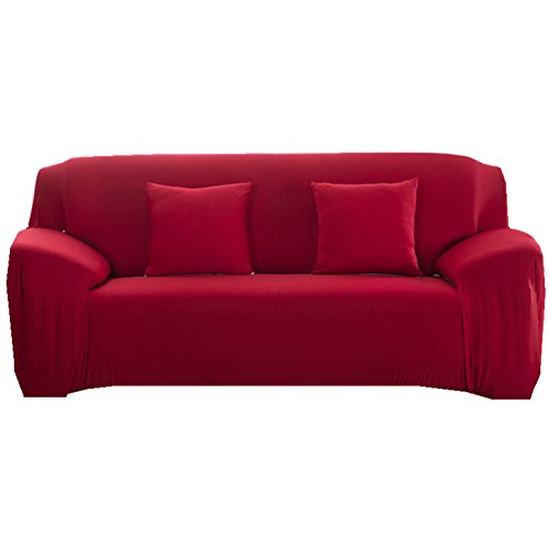 Sofa Bezug 1 nbsp;2 nbsp;3 nbsp;4-Sitzer-Stoff uuml;berwurf, Schonbezug, elastischer Uuml;berwurf f uuml;r Sofa, Sessel, Couch zum Schutz, Farbe: pure, rot, 2 Seater:145-185cm