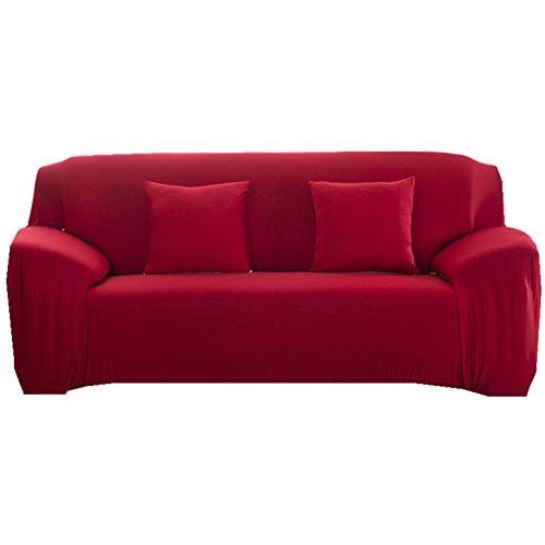 Sofa Bezug 1234-Sitzer-Stoffüberwurf, Schonbezug, elastischer Überwurf für Sofa, Sessel, Couch zum Schutz, Farbe: pure, rot, 3 Seater:190-230cm