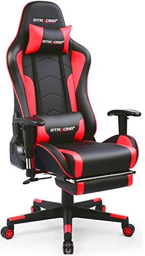 GTRACING ゲーミングチェア スピーカー付き オフィスチェア デスクチェア ゲーム用チェア リクライニング パソコンチェア ハイバック ヘッドレスト ランバーサポート ひじ掛け付き PUレザー (GT890YJ-RED スピーカー付き)