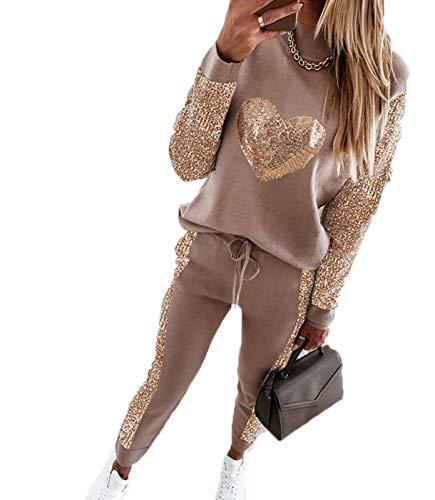 KEEPWO Conjunto de chándal Brillante para Mujer, Tops y Pantalones de corazón, chándal, Jogging, Gimnasio, Ropa Deportiva