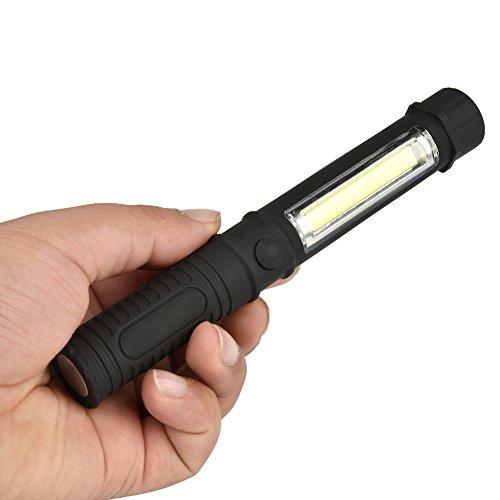 EBILUN Lampe de travail portable COB pour inspection, éclairage d'urgence pour pêche, camping, randonnée, noir