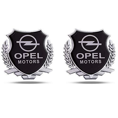 L&U 2ST Wheat Motors Schild Emblem Logo Fender C Säule Trunk Dekoration Auto-Styling-Aufkleber, 8,5 * 8cm Metall-Auto-Aufkleber,Silber,for Opel