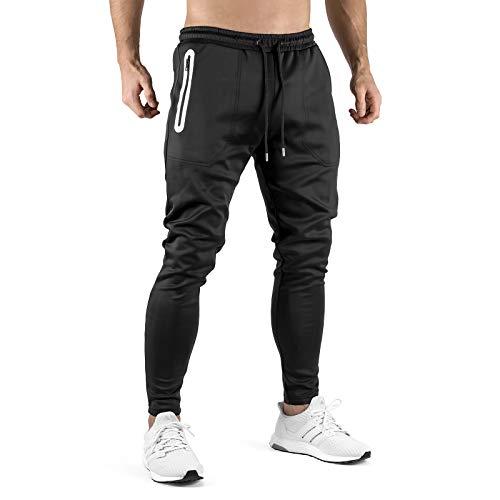 Sixlab Premium Tech Jogginghose Herren Trainingshose Sweatpants Fitness Gym (Black/White, M)