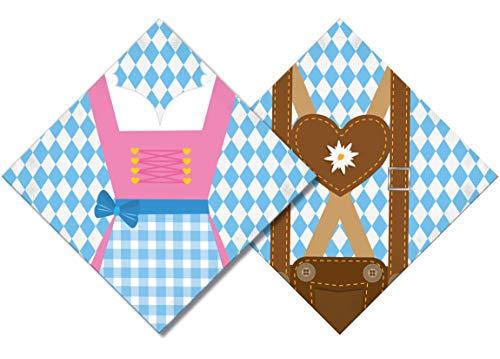Party-Servietten/Papier-Serviette Dirndl & Lederhose Tisch-Dekoration/Motto-Party Bayern/Oktoberfest/Geburtstags-Deko JGA Accessoires 40 Servietten