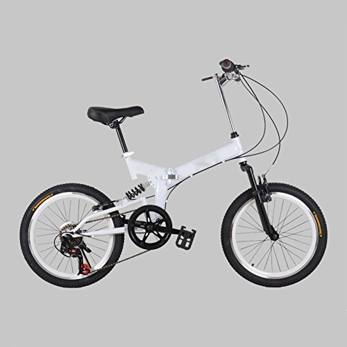 Buy Discount YEARLY Adults Folding Bicycles, Mountain Folding Bikes 7 Speed Foldable Bikes Men and Women Student Folding Bicycles-White 20inch
