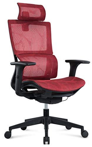 MIIGA ergonomischer Profi Bürostuhl Schreibtischstuhl für das Homeoffice, Chefsessel, ergonomisch, verstellbare Kopfstütze, Sitzhöhe und Rückenlehne, Belastbarkeit bis 150 kg MG233A (Rot)