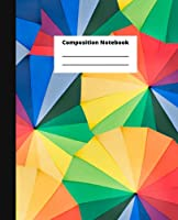 Composition Notebook: Umbrella Pattern   Colorful   Wide Ruled 7.5 x 9.25