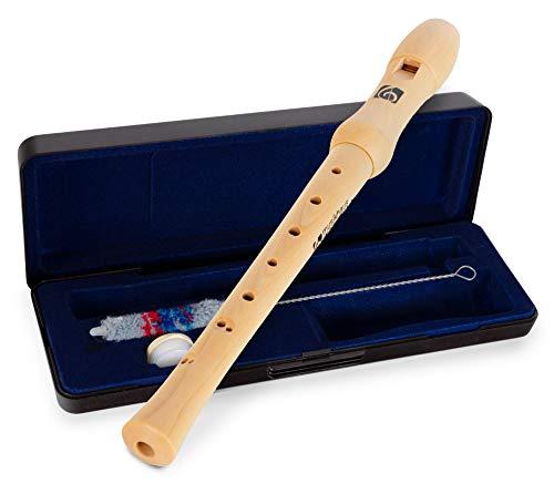 Kirstein C-Sopran Blockflöte barocke Griffweise - Holzblockflöte aus Ahornholz für Kinder und Erwachsene - Kinderflöte ab 6 Jahren ideal für Anfänger - Inkl. Koffer, Korkfett und Wischerstab