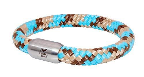 Vincent Blackbird Poseidon Segeltau Armband I türkis I braun - Handgemacht in Geschenkverpackung I dick & auffällig (19)
