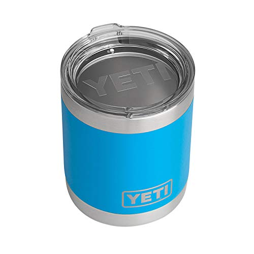 YETI Rambler 10 oz Lowball, Vacuum Insulated, Stainless Steel with Standard Lid, Tahoe Blue